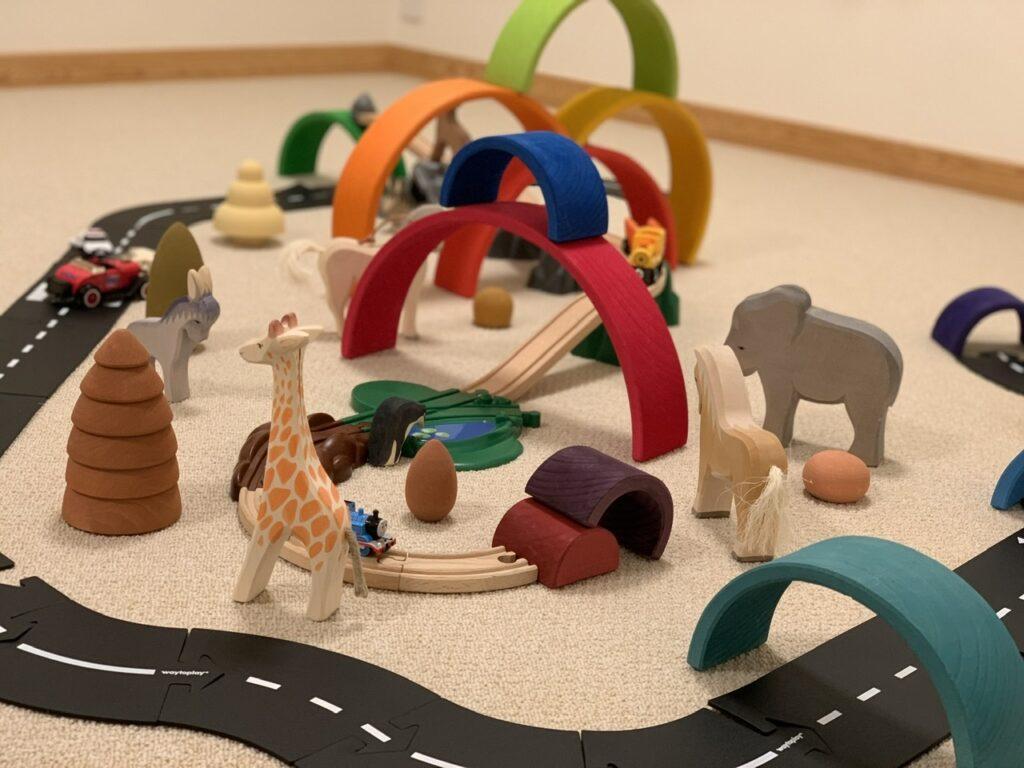 ウェイトゥプレイを使って家族でコースを作って街を作った画像です